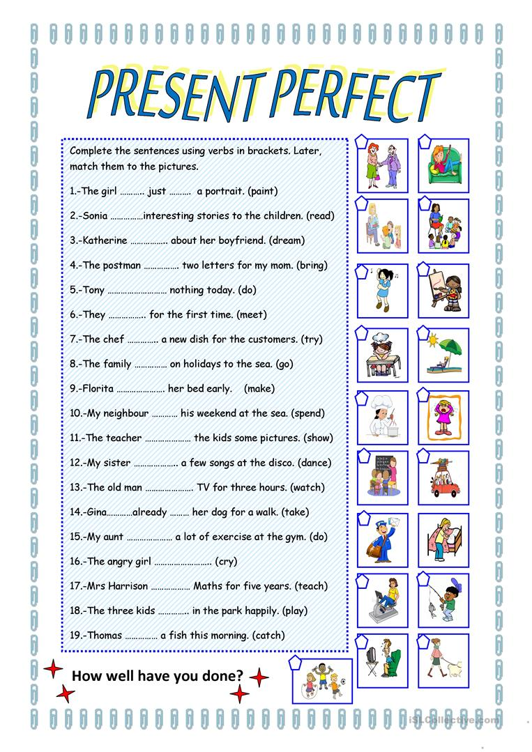 PRESENT PERFECT TENSE - English ESL Worksheets
