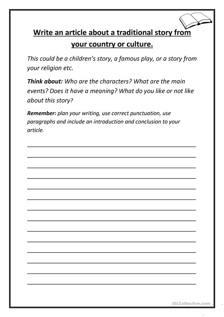 Write an article about a traditional story from your ...