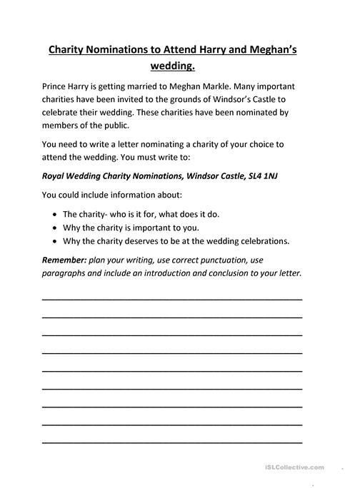 Write a letter nominating a charity to attend harry and meghans write a letter nominating a charity to attend harry and meghans wedding expocarfo Choice Image