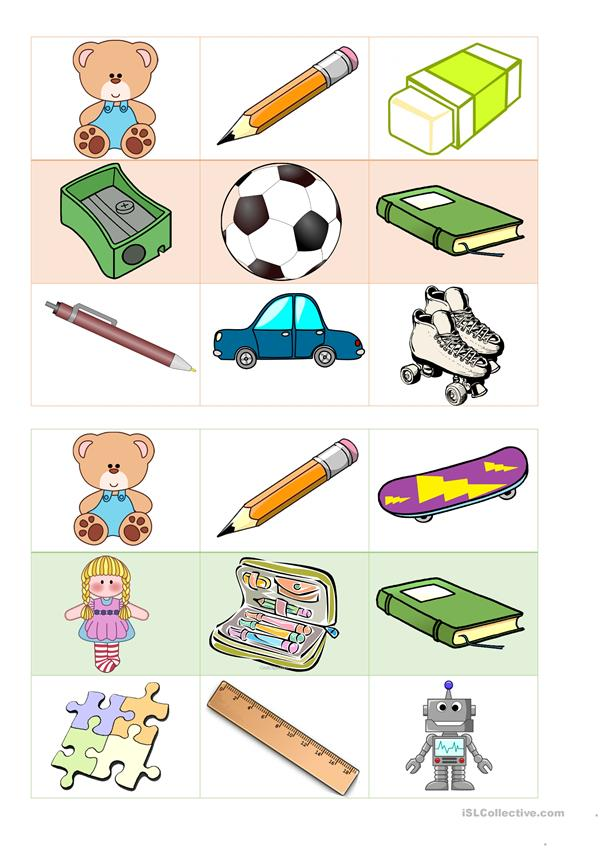 BOARD GAME - BINGO - School Items - Toys