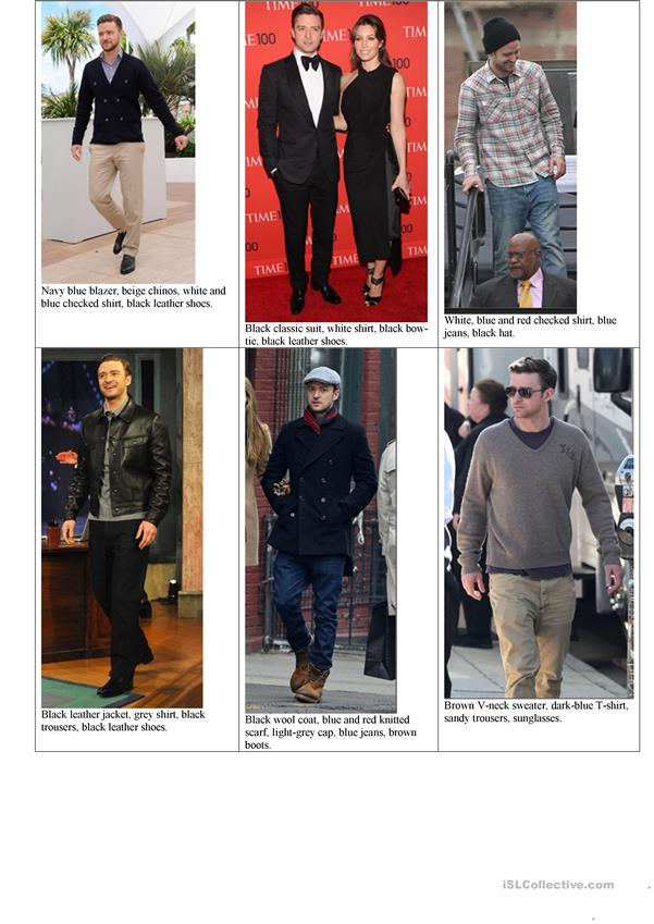 Celebrities clothes matching and description (part 1)