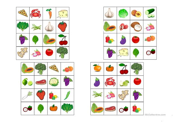 Food bingo (mostly fruit and vegetables)