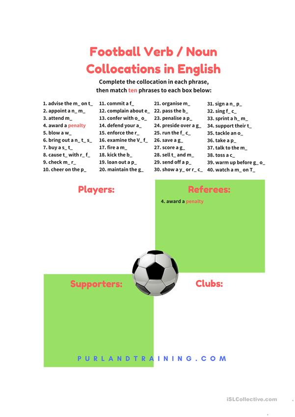 Football Verb / Noun Collocations in English – FREE Infographic
