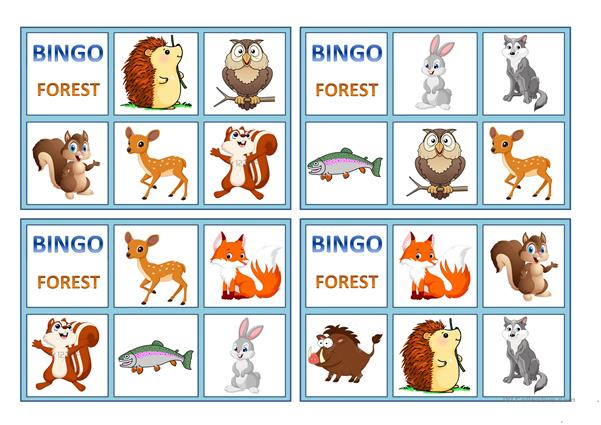 FOREST ANIMALS BINGO