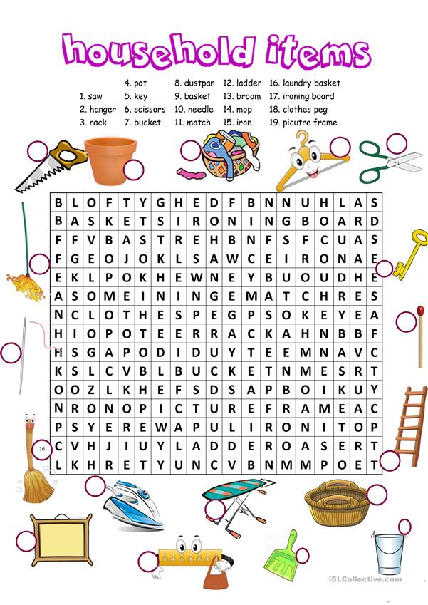 Household items word search
