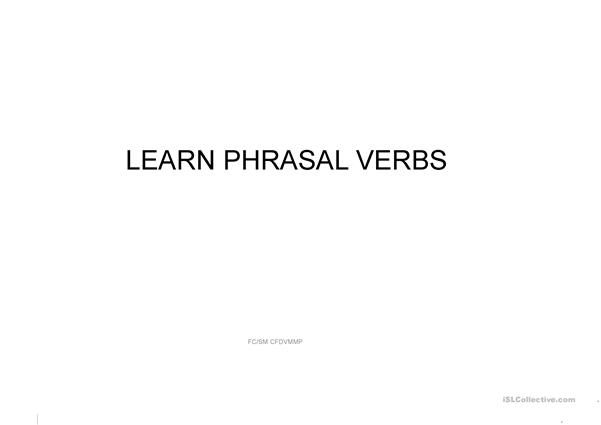 Learn Phrasal Verbs with images and meanings. 3 SM