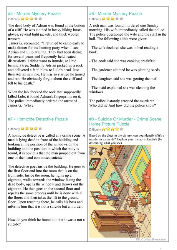 photograph about Printable Detective Games known as magic formula riddles sport - English ESL Worksheets
