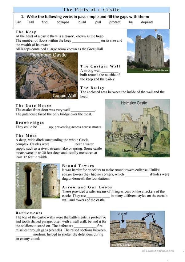 Past simple- Parts of medieval castles