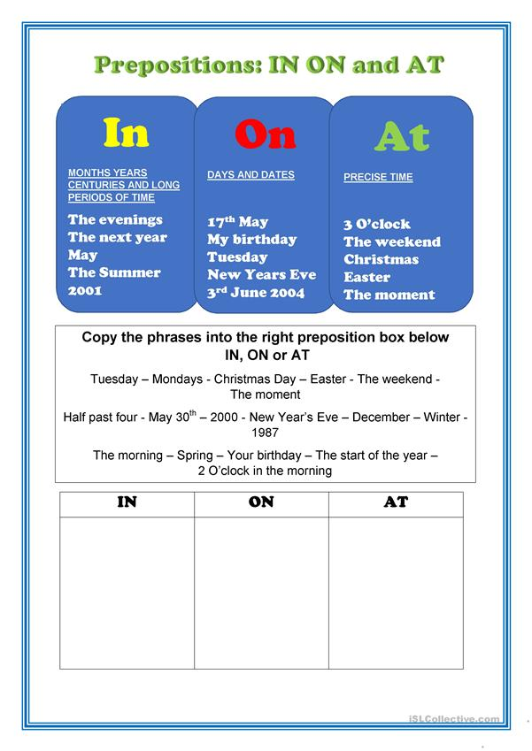 Prepositions of Time - On At To