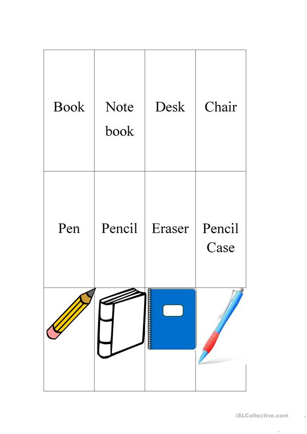 School Supplies Memory Game