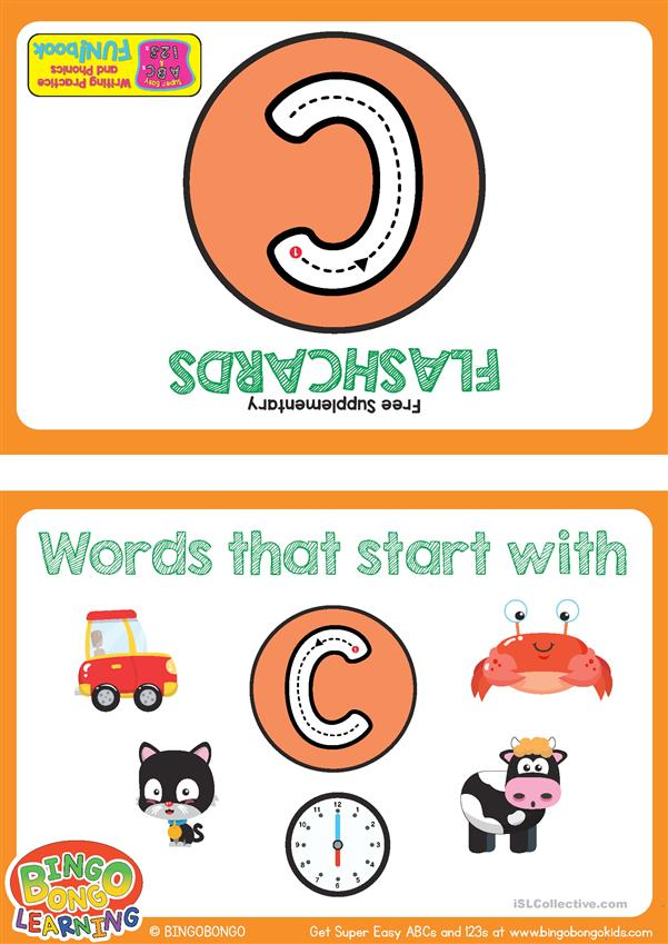Words Starting With C - BINGOBONGO Super Easy ABCs and 123s Flashcards