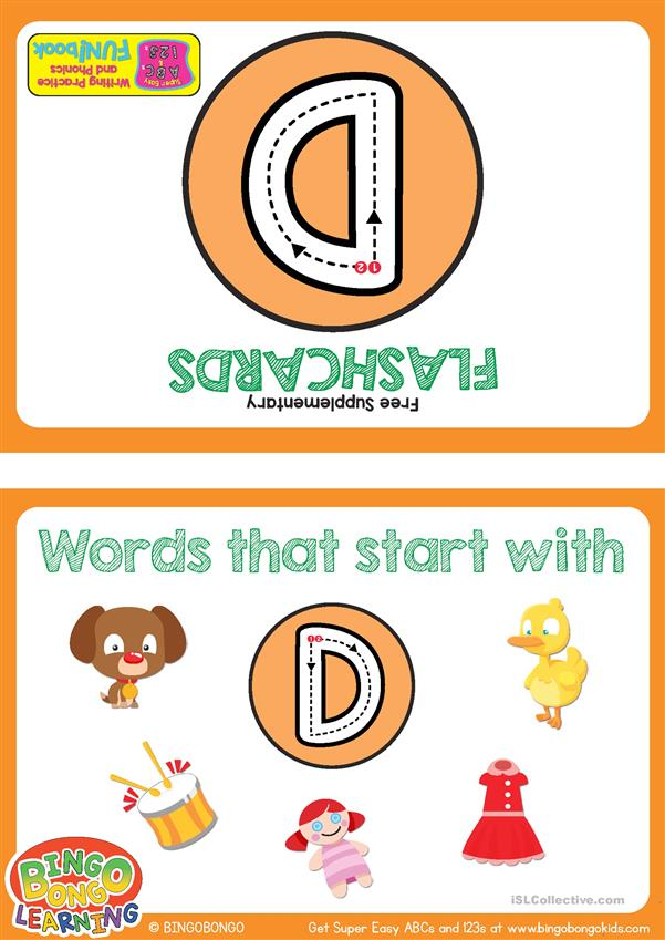 Words Starting With D - BINGOBONGO Super Easy ABCs and 123s Flashcards