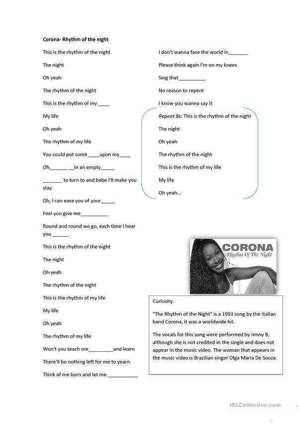 corona rhythm of night song worksheet worksheet free esl printable worksheets made by teachers. Black Bedroom Furniture Sets. Home Design Ideas