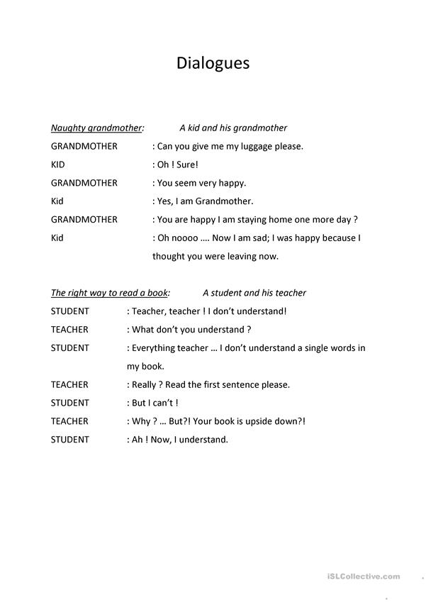 Funny dialogues to play worksheet - Free ESL printable worksheets