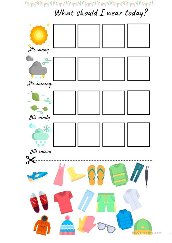Weather Clothes Worksheets Kindergarten