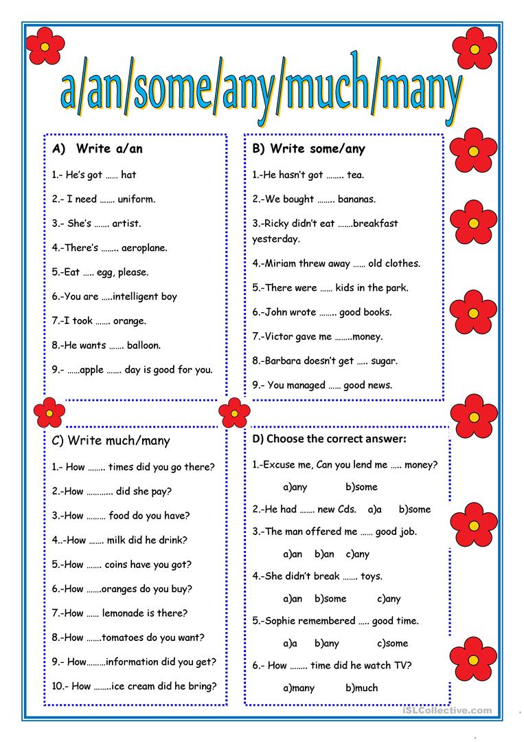 A, AN, SOME,ANY,MUCH,MANY - English ESL Worksheets English Worksheets Some Any Much Many on wedding guest list worksheets, i and me worksheets, preschool phonological awareness worksheets, some any worksheets, skip counting worksheets, double negatives worksheets, have has worksheets, preschool community helpers worksheets, was were worksheets, can and may worksheets,
