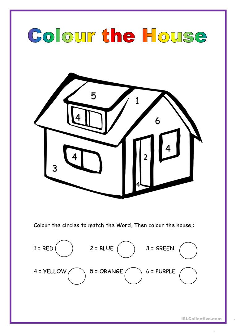 Colour the House - English ESL Worksheets for distance learning ...