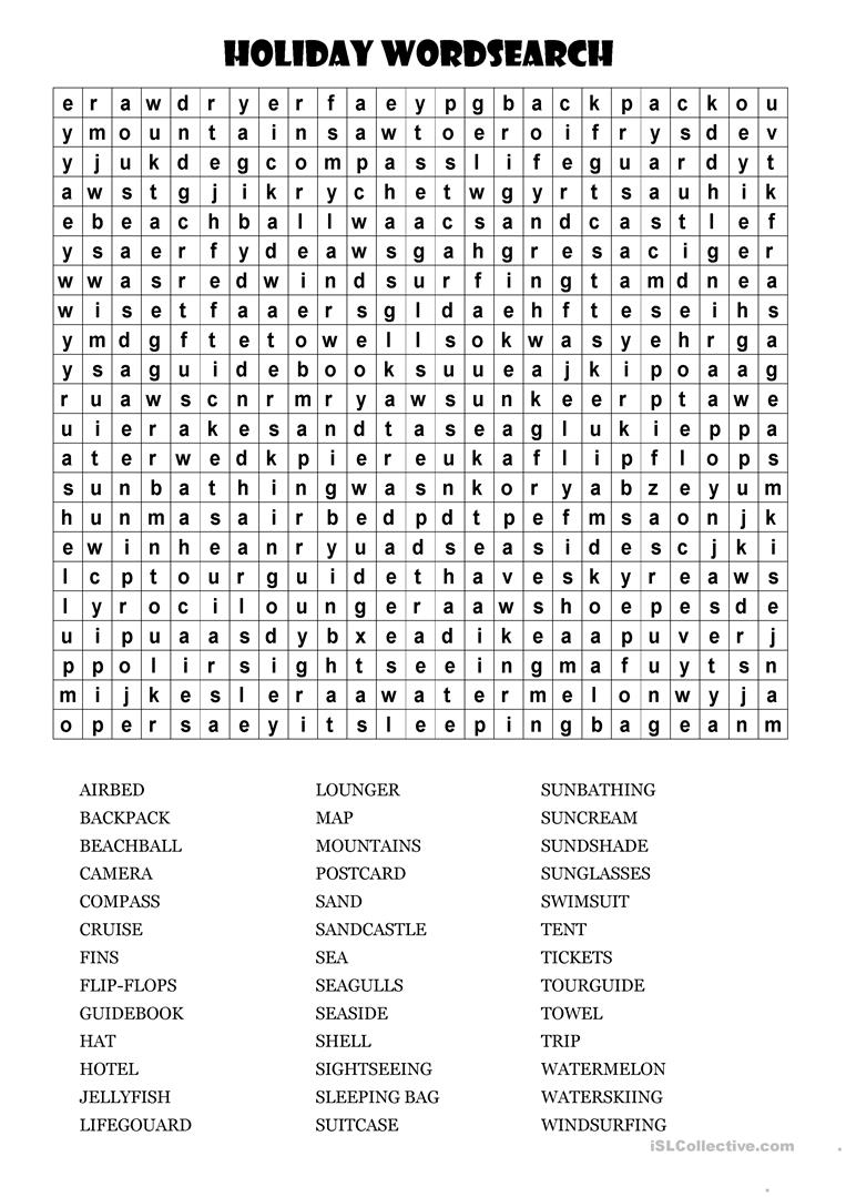 photograph relating to Holiday Word Search Printable called Significant vacation wordsearch! - English ESL Worksheets