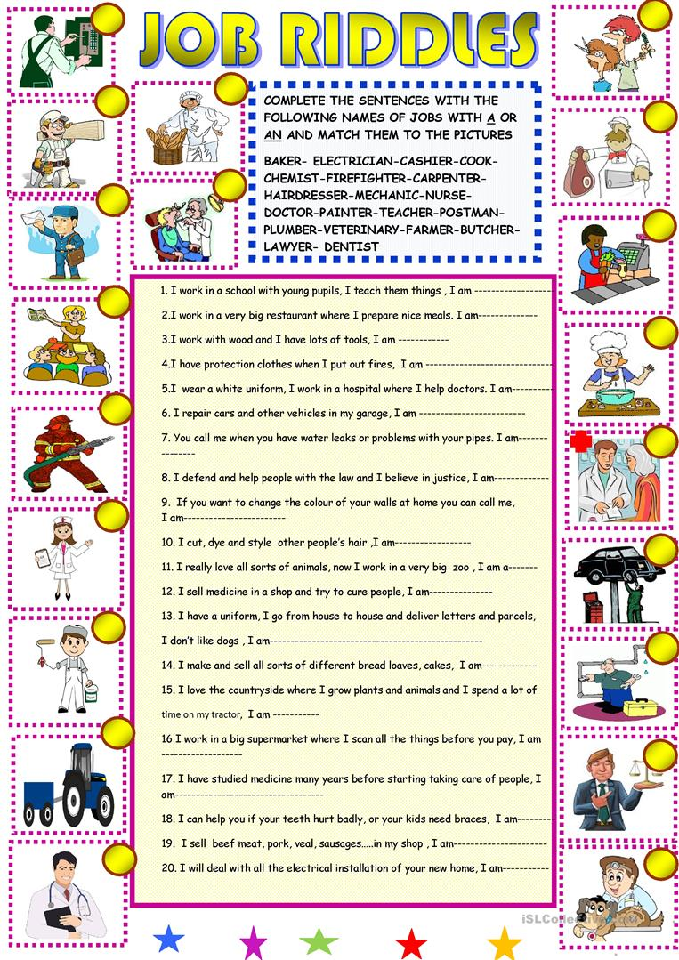 photograph relating to Riddles for Kids Printable titled Undertaking riddles: clean - English ESL Worksheets