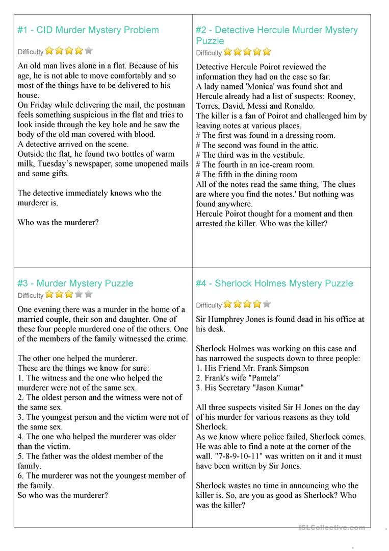 image relating to Free Printable Mystery Games known as solution riddles match - English ESL Worksheets
