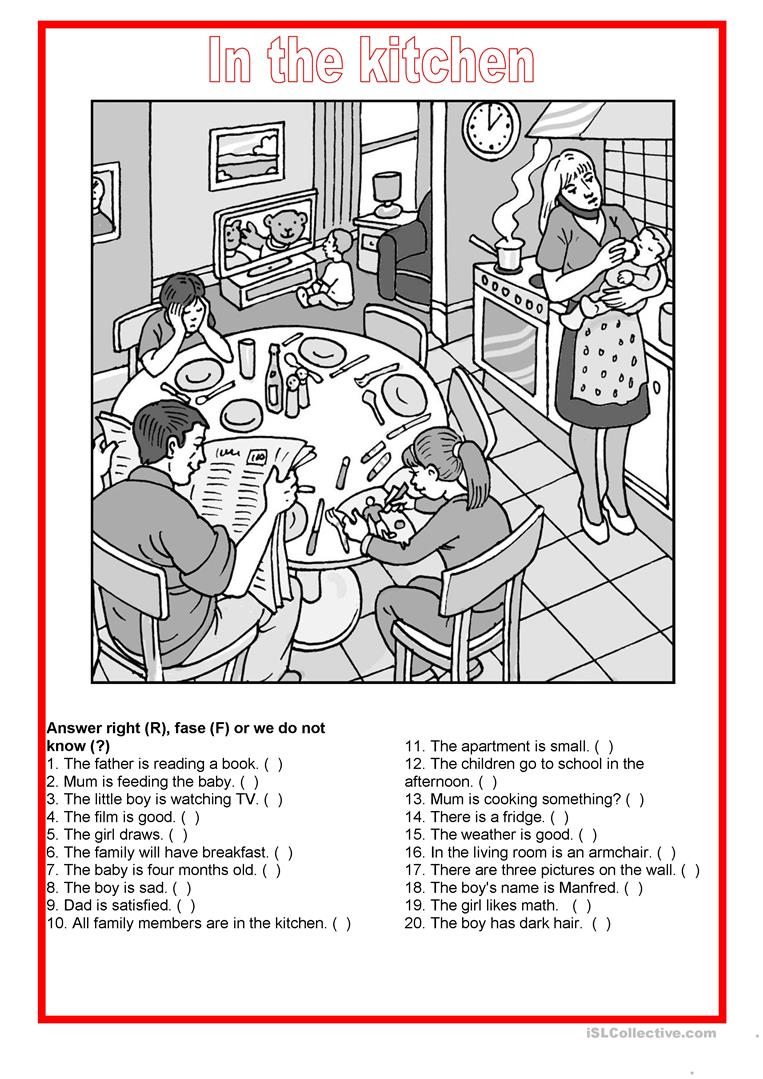 Picture description - In the kitchen - English ESL Worksheets on math project answers, math sheet answers, math test answers, math enrichment worksheets, math lessons answers, math table answers, worksheets and answers, math puzzle answers, math graphing worksheets,