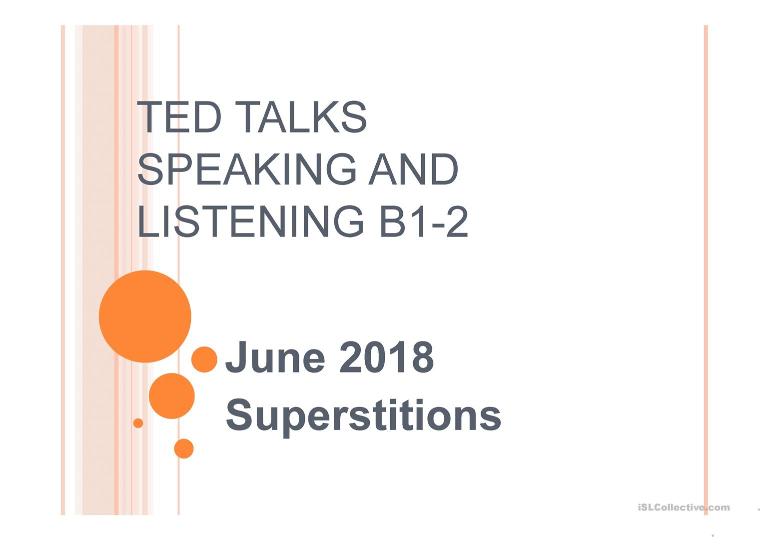 TED talk superstitions - English ESL Powerpoints