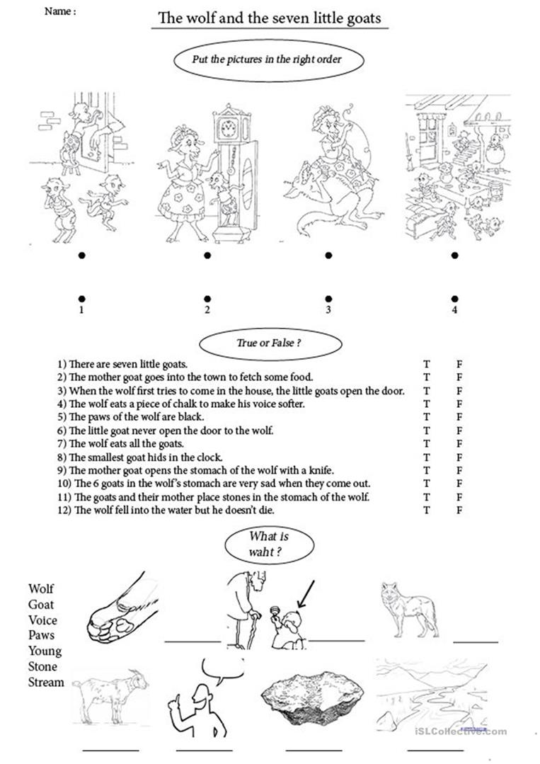 The Wolf And The Seven Little Goats English Esl Worksheets
