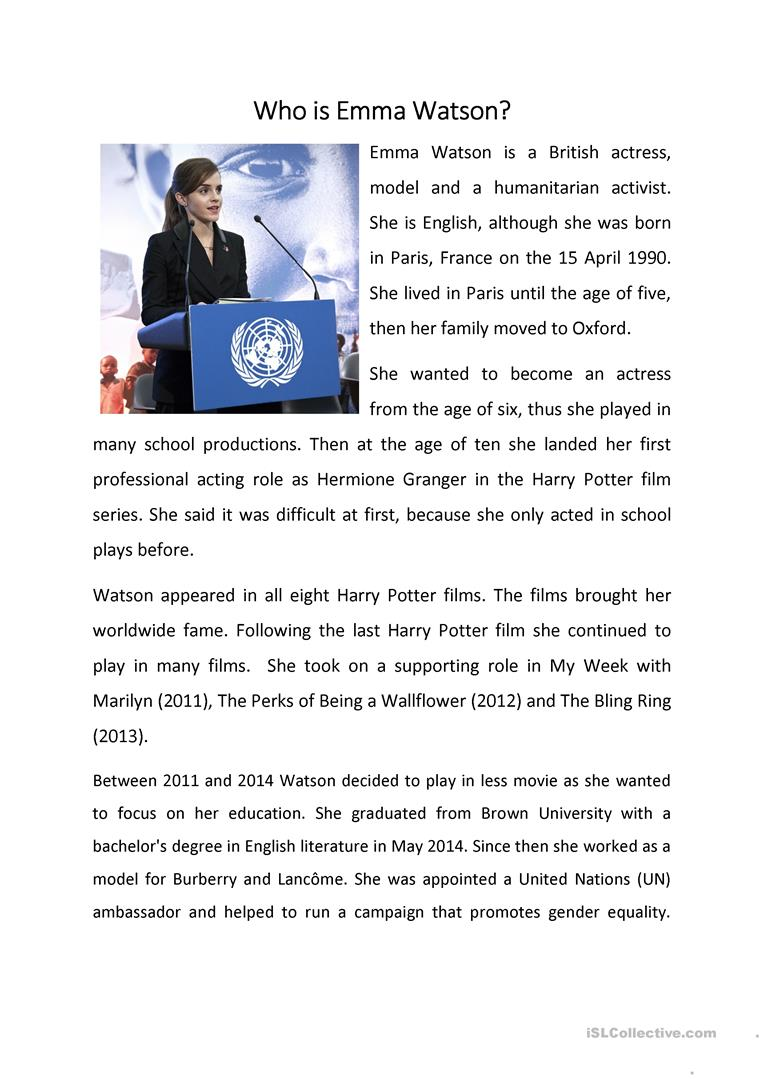 Who Was Emma Watson English Esl Worksheets For Distance Learning And Physical Classrooms