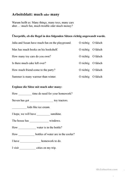 much or many worksheet - Free ESL printable worksheets made by teachers