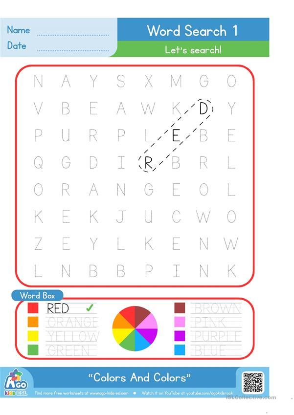 Colors And Colors - Word Search 1 - BINGOBONGO Learning