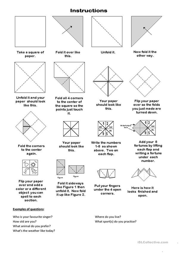 Fortune teller paper game (template)