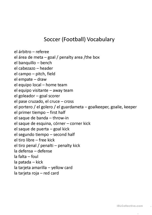 Free World Cup ESL packet: dialog, soccer vocabulary, photo for discussion