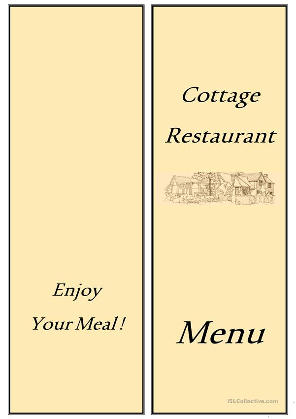 ordering food in a restaurant - menu card + activities
