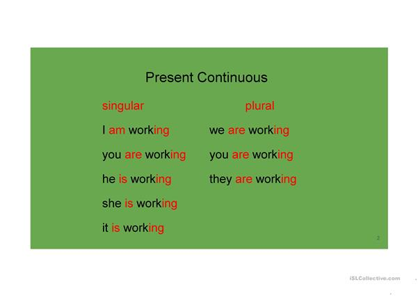 Revision of present tenses - present continuous tense