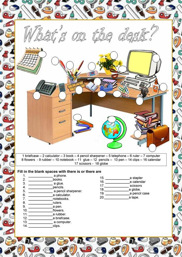 School supplies - What's on the desk?