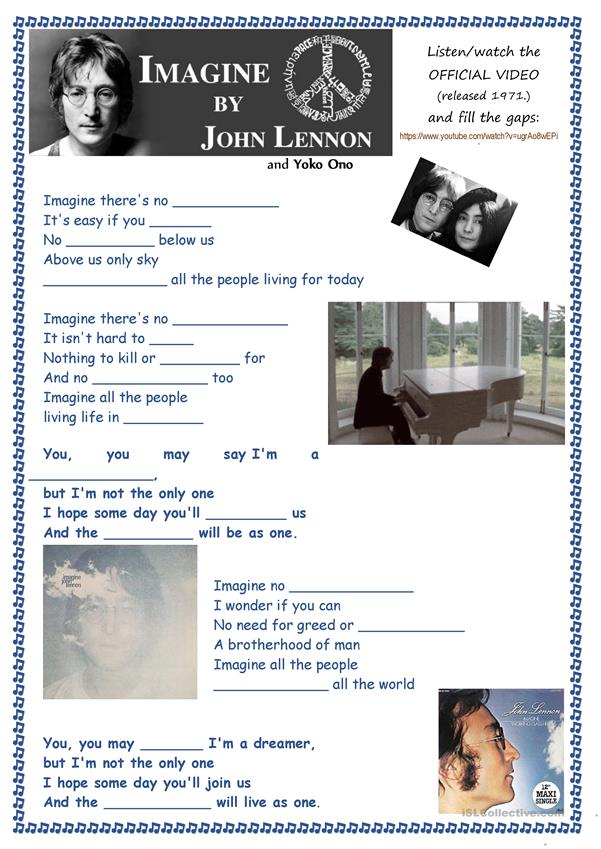 Song IMAGINE by John Lennon and Yoko Ono (1971) + Key