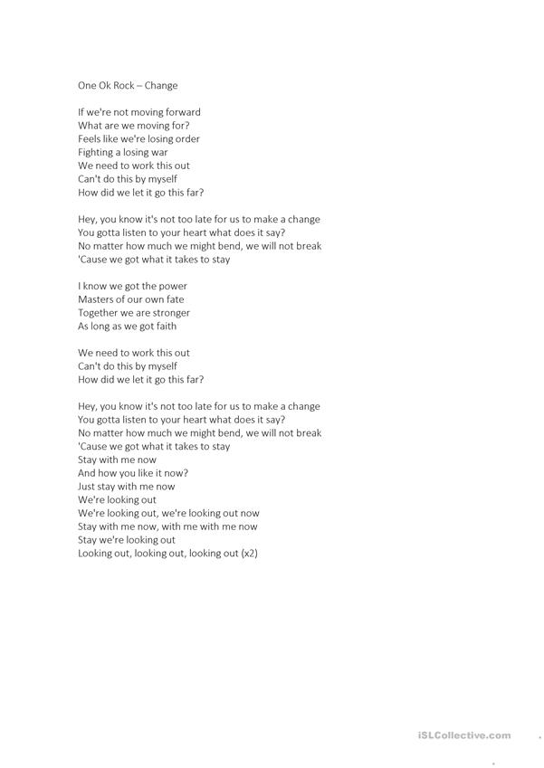 Song Worksheet - One Ok Rock