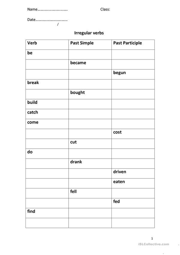 Test on Irregular Verbs