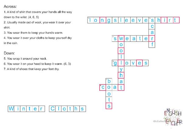Winter cloths crossword puzzle