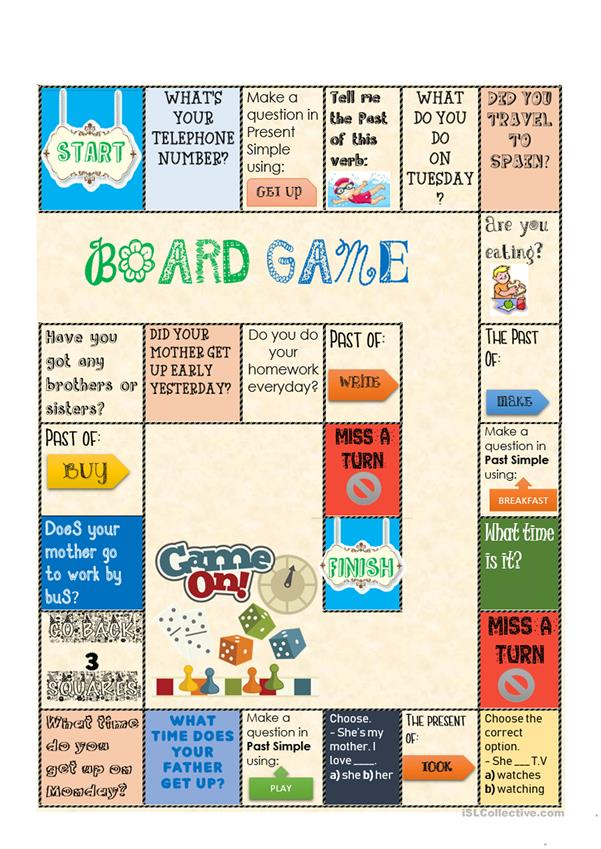 board game  present and past simple  english esl