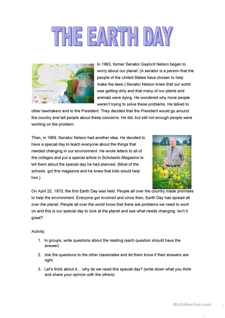 The earth day worksheet - Free ESL printable worksheets made by teachers
