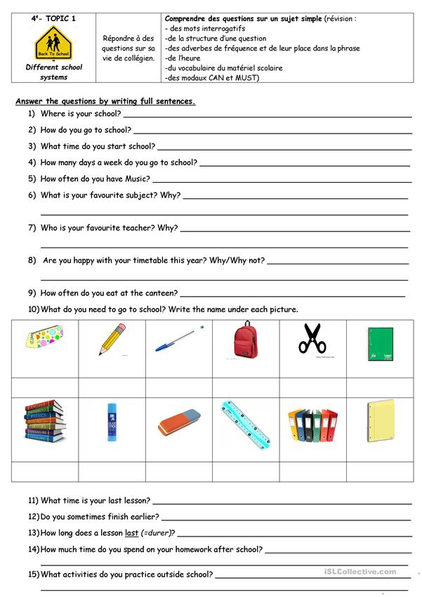 A questionnaire about habits in school.