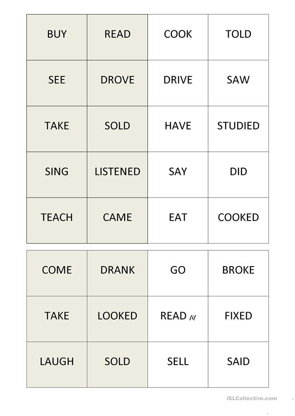 Domino Verbs: Basic X Past Simple Forms.