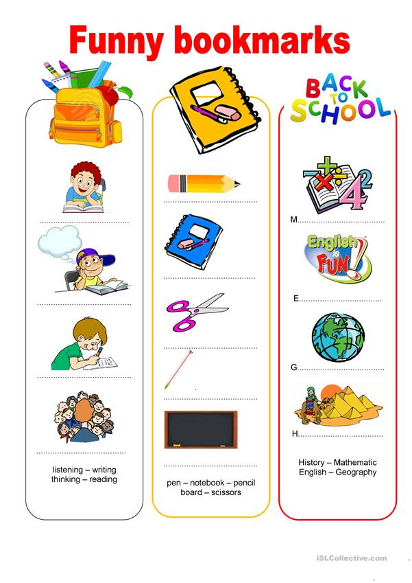Funny bookmarks - Back to school