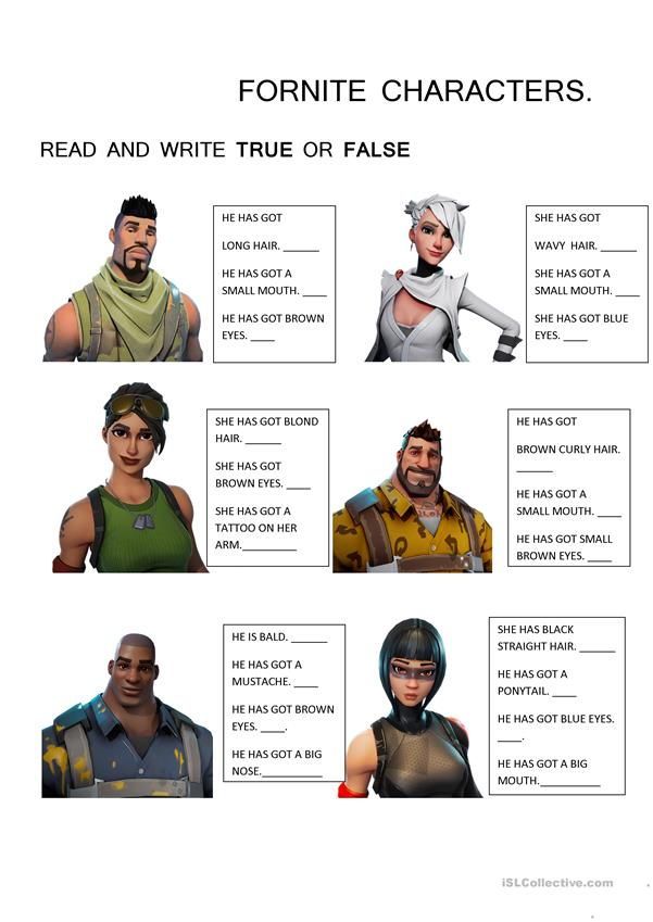 Have got. Fornite Characters