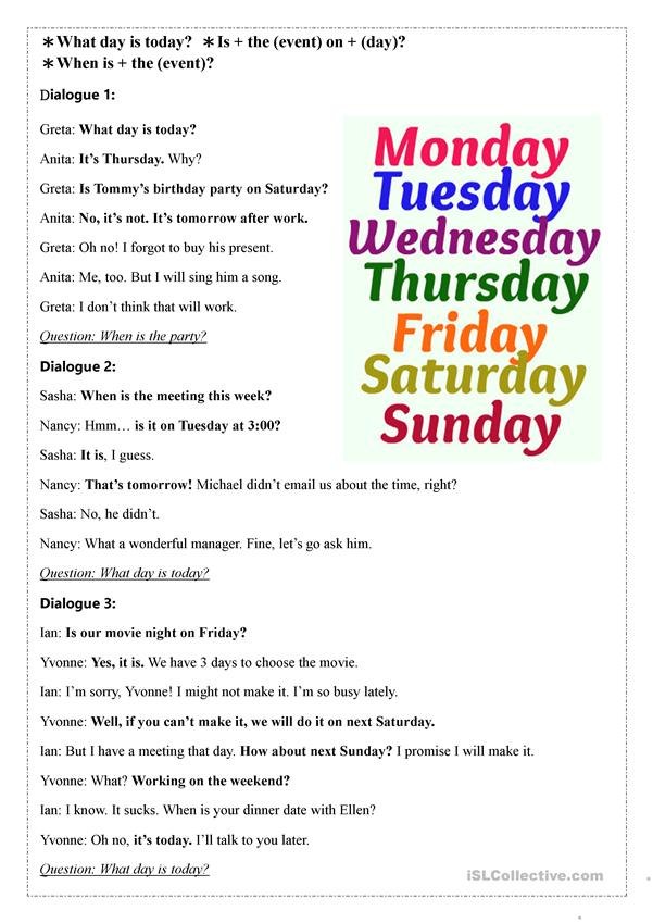 What Day is Today? - dialogues about days of the week