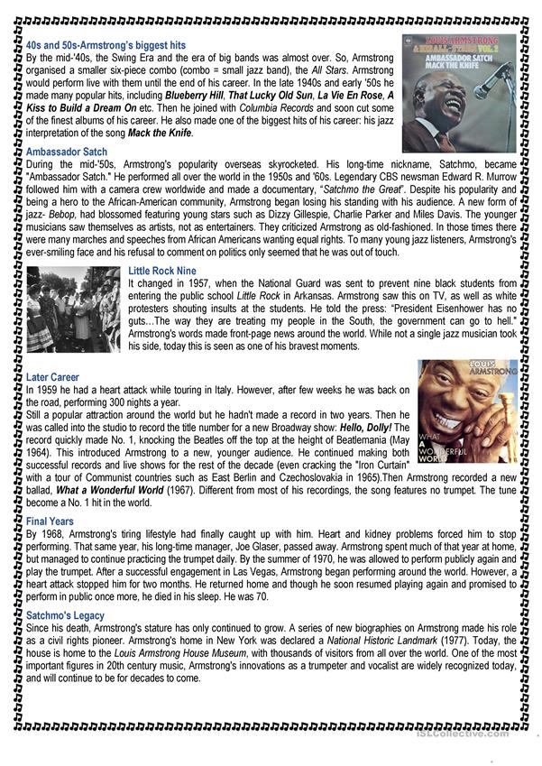 Louis Armstrong -jazz star/Short biography + quiz (4 pages)