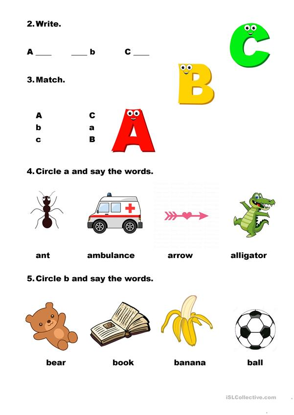 Practise the letters A-C