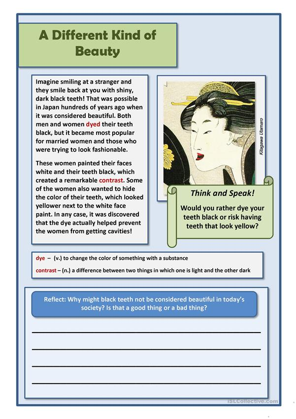 Reading Worksheet - topic Japan culture (fashion)