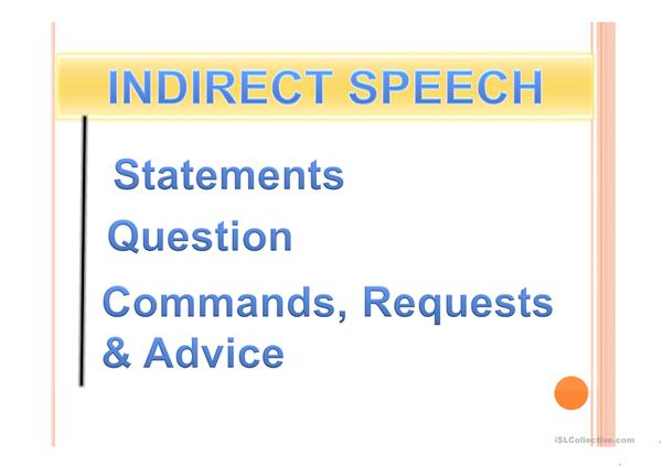 REPORTED SPEECH - ALL KINDS